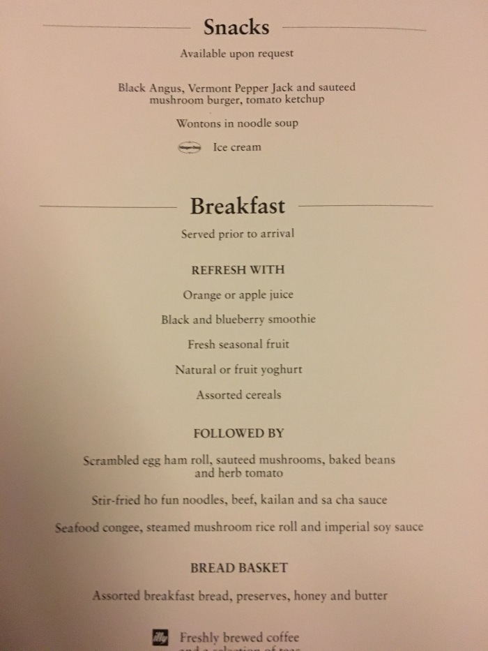 Cathay Snacks Breakfast Menu