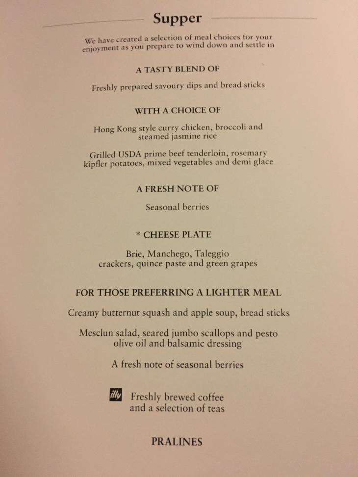 Cathay Supper Menu