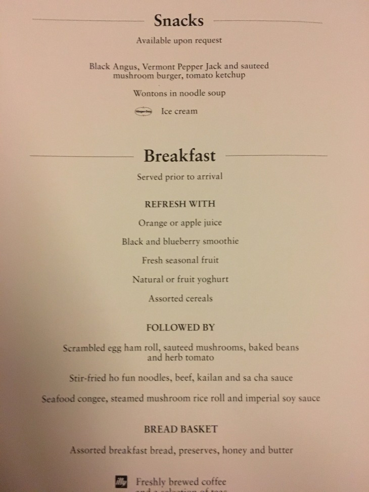 Cathay Snacks Breakfast Menu